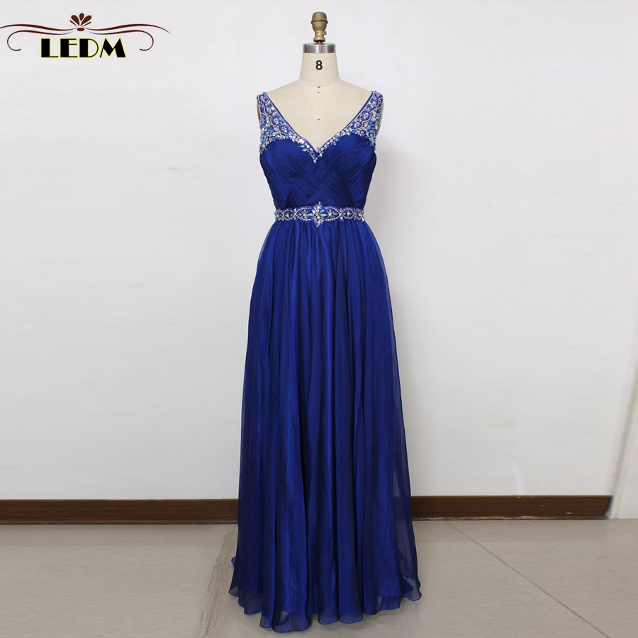 vestido de formatura longo 2018 V is gotten back lace and chiffon crystal royal blue PROM dress long evening dress real photos