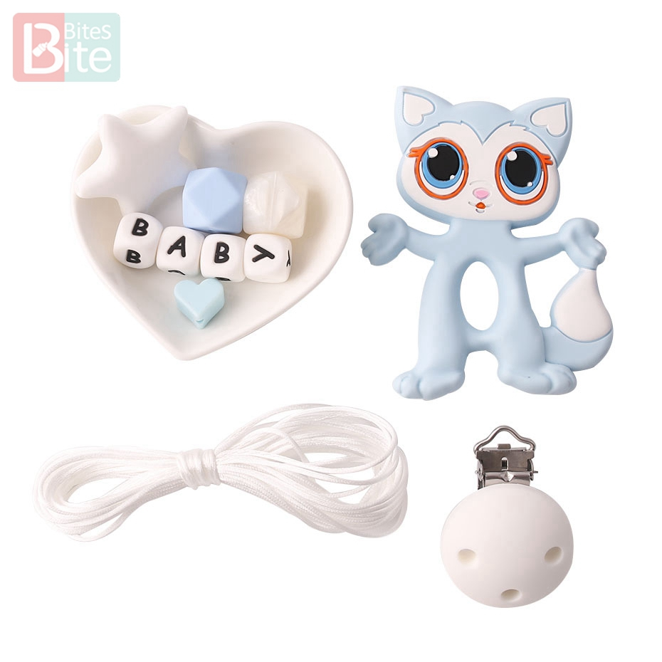 Bite Bites 1set Silicone Teether Raccoon Perle Silicone Beads DIY Set Food Grade Silicone Cartoon Animals BPA Free Baby Teether