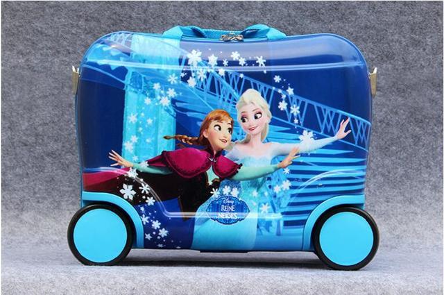 2016 girls  fashion luggage  Anna& Elsa 17inch  luggage  with wheels anime rolling travel bags  Cartoon suitcase