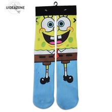 2016 Моды печати аниме Губка Боб носок мужчины женщины симпатичные kawaii длинные носки мультфильма хомбре chaussettes Носки