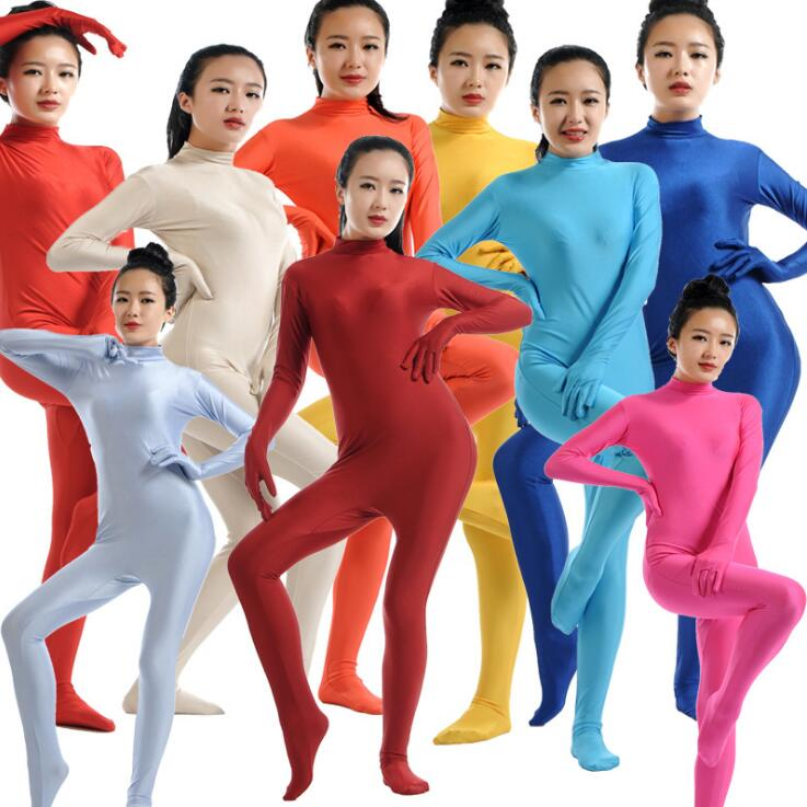 Adult Spandex Zentai Full Body Skin Tight Jumpsuit Unisex Zentai Suit Bodysuit Costume for Women Unitard Lycra Dancewear