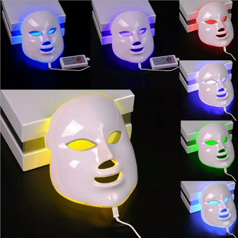 LED Facial Mask 7 Color LED Photon Facial Mask Wrinkle Acne Removal Face Skin Rejuvenation Facial Massage Care Beauty Mask anti acne pigment removal photon led light therapy facial beauty salon skin care treatment massager machine