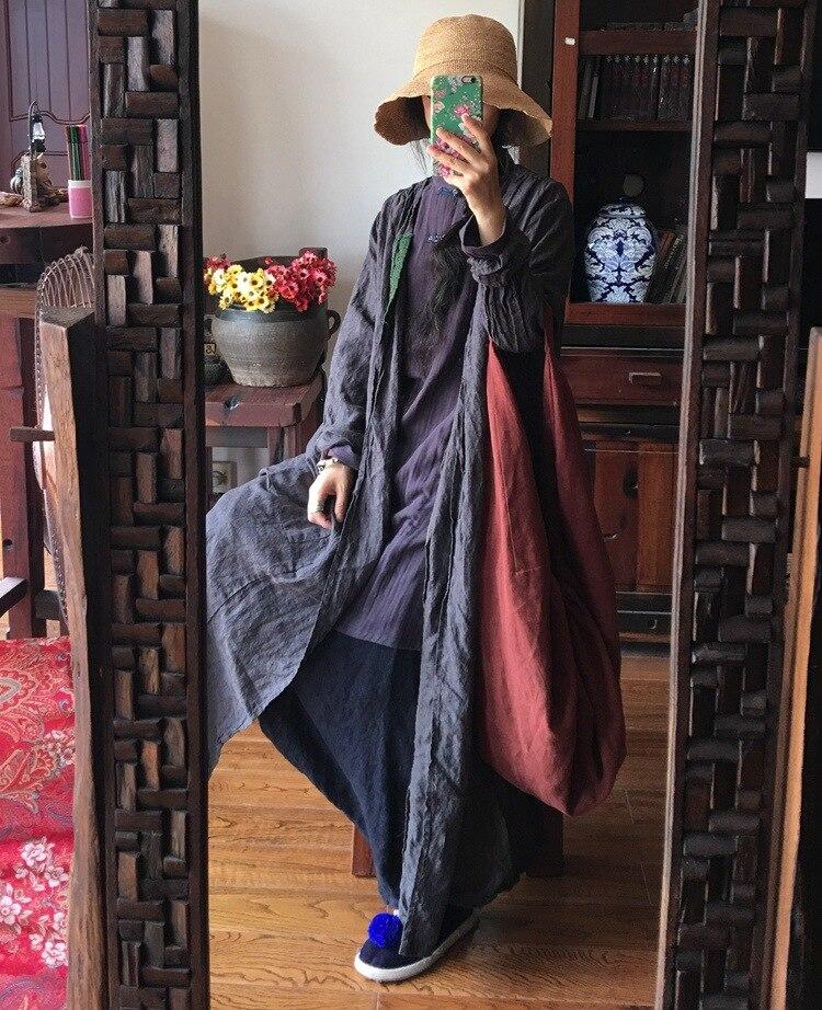 Tranchée Vintage Dames Patchwork Manteau Gris Femelle Lin Pardessus 2018 Outwear Long Automne Rétro Femmes Appliques Linge tCdhrsQ
