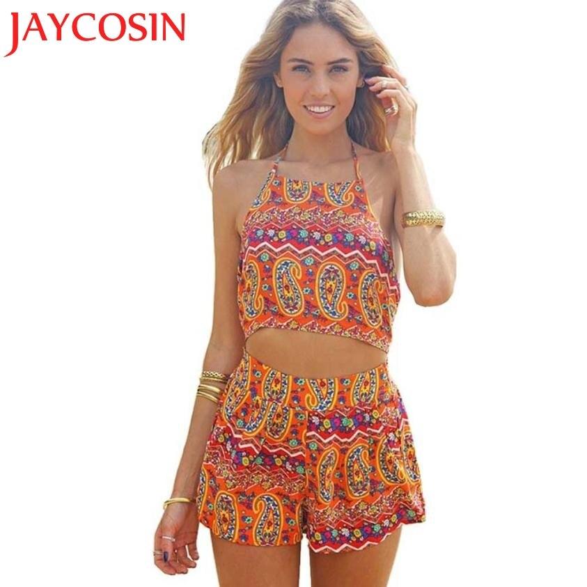 SIF Hot! 2020 New Fashion Women Floral Backless Sleeveless Frenum Chiffon Bodycon Jumpsuit Short Pant Wonderful Drop Shipping721