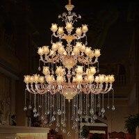 Роскошные хрустальные люстры дуплекс Строительство Вилла цинковый сплав свеча кристалл лампы холле отеля лестницы золото Хрустальная люс