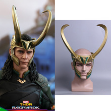2017 Movie Thor 3 Ragnarok Loki Laufeyson PVC Cosplay Mask Helmet Halloween Prop