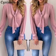 Cysincos, шифоновые блузки для женщин, осень, модная розовая рубашка с длинным рукавом и v-образным вырезом, офисная блуза, облегающие повседневные топы для женщин размера плюс