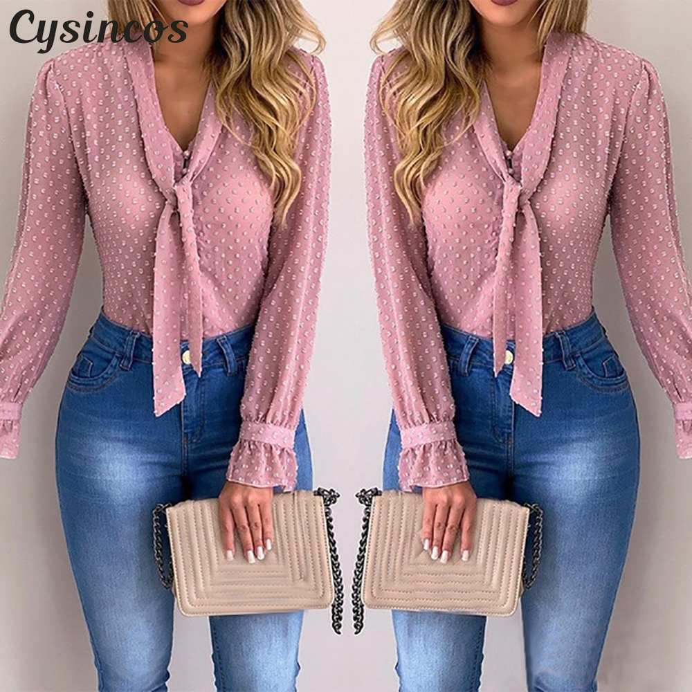 Cysincos Chiffon Blouses Women 2019 Autumn Fashion Long Sleeve V-neck Pink Shirt Office Blouse Slim Casual Tops Female Plus Size Подушка