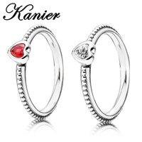 NEW KANIER Elegant S925 Pure Silver Pandor Original Copy Has Logo Red Heart Rings Women Jewelry