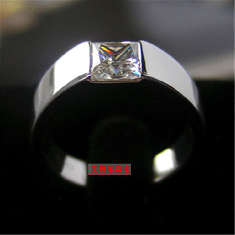 Princess Cut  CZ 0.68ct Stone Silver Stainless Steel Ladies Ring New