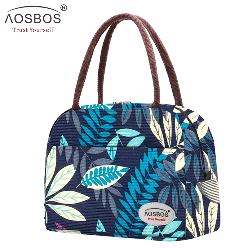 Aosbos Fashion Portable Cooler Lunch Bag Thermal Insulated Multifunction Food Bags Food Picnic Lunch Box Bag For Men Women Kids