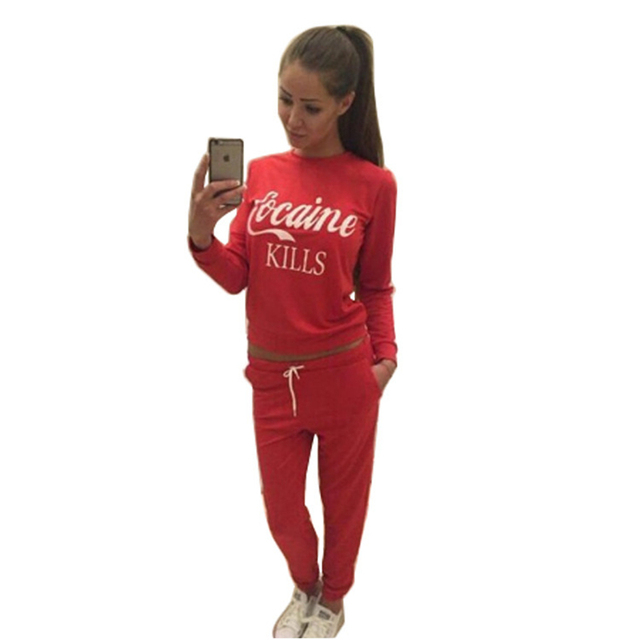 2017 Women's Hoodies Sets Long Sleeve Sweatshirts+Pants 2 Piece Set O-neck Tops Tracksuit Fashion Sportwear Ladies Suit
