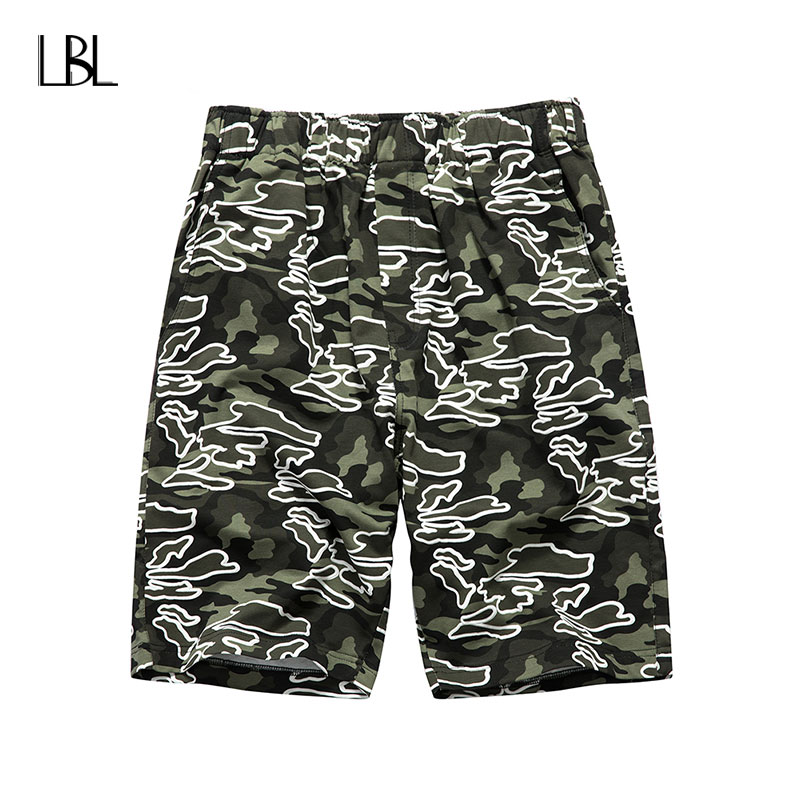New Men Casual Shorts Print Man Fitness Clothing Shorts Knee Length Trousers Male Hip Hop Streewear Mens Bodybuilding Shorts