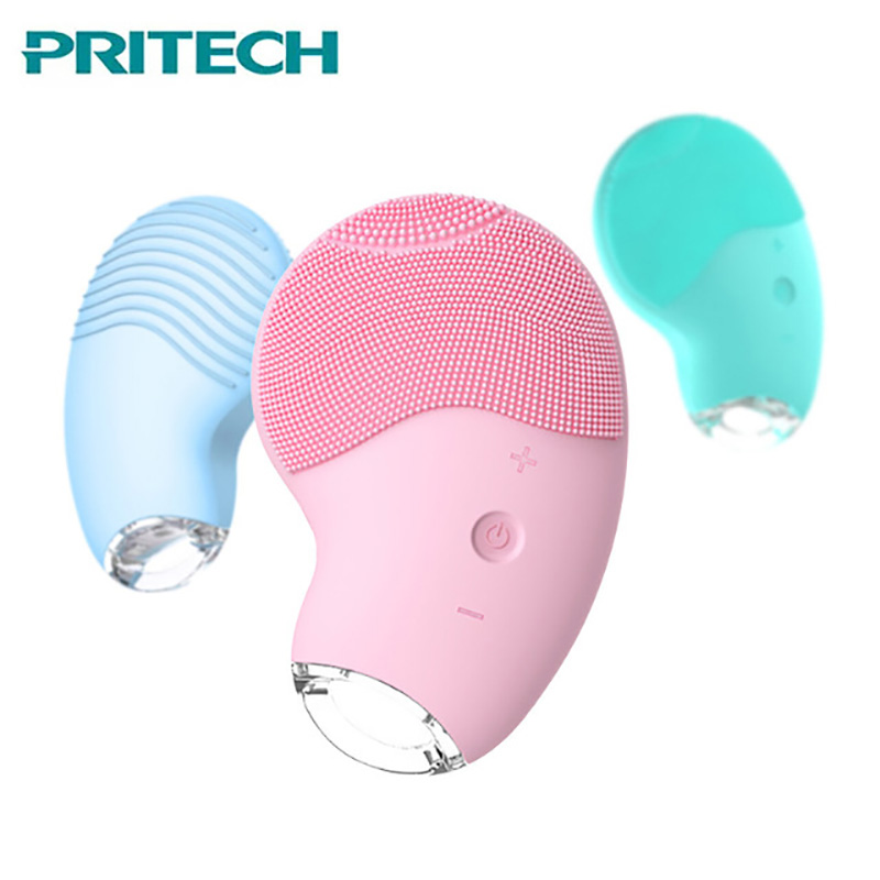 Pritech Electric Facial Cleansing Brush Silicone Facial Brush Rechargeable Skin Scrubber Face Care Brush Deep Pore CleanerPritech Electric Facial Cleansing Brush Silicone Facial Brush Rechargeable Skin Scrubber Face Care Brush Deep Pore Cleaner