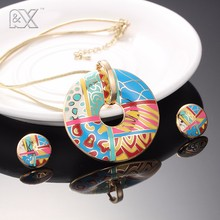 R&X New Vintage long necklace accessories gold chain wedding dress earrings necklaces & pendants  enamel jewelry set