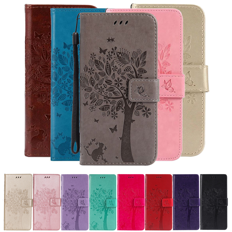 3D Tree Phone Case för iPhone 7 6 6S 8 Plus 5 5S 5C SE Väska Flip Leather Wallet Stand Cover för iPhone X XR XS Max Cartoon Cases