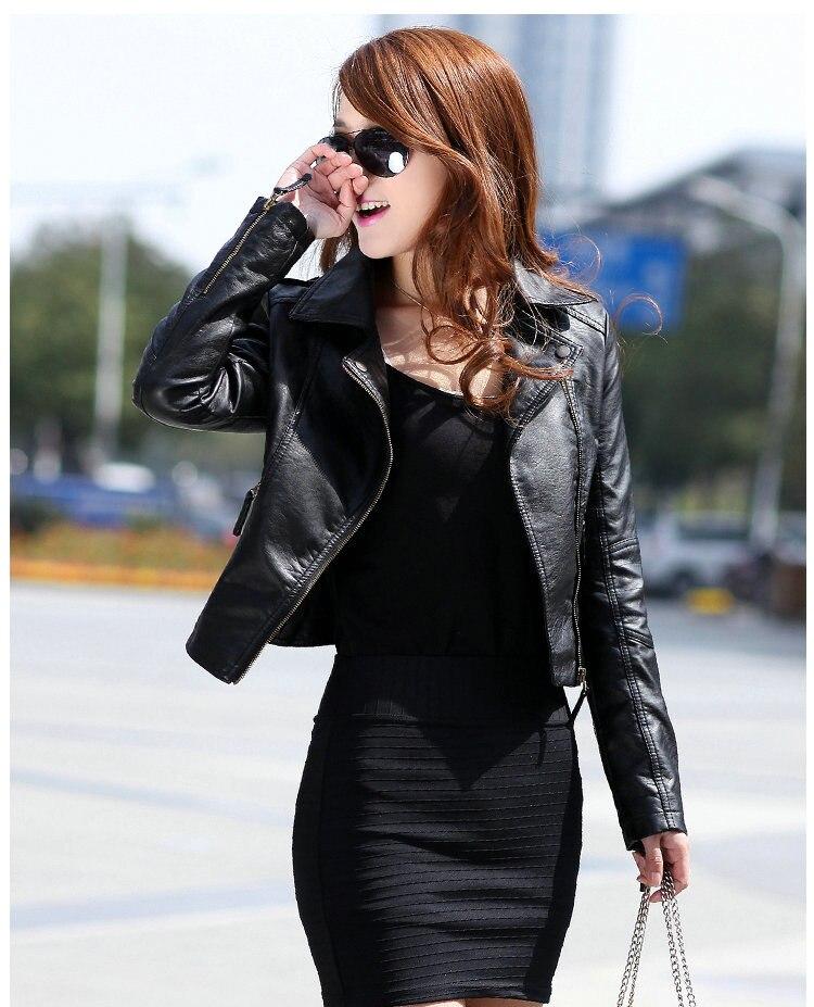 Women Fashion Black Motorcycle Coat Short Female Pu   Leather   Jacket Short   Leather   Biker Jacket Soft Jacket Black   Leather   Jacket