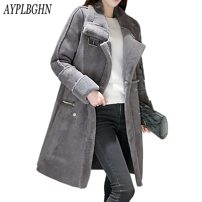 Plus size New Winter Women Jacket Coat Medium Long Suede Lamb Wool Coat Thickening Super Warm Cotton Coat 6L82 2017 winter women plus size in the elderly mother loaded cotton coat jacket casual thickening warm cotton jacket coat women 328