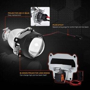 Image 3 - Retrofit Mini 2.5 inch HID Bixenon Projector Headlight Lens Automobiles Headlamp Lenses Kit+ Silver Shrouds H1 H4 H7 Car Styling