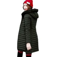 New Fashion Winter 2017 Women Cotton Padded Jacket Slim Long Cotton Coat Hooded Warm Parkas Female High Quality Jacket 4L46