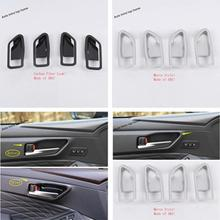 Yimaautotrims Inner Door Handle Bowl Cover Trim ABS Interior Mouldings Fit For Toyota Avalon 2019 Matte Carbon Fiber Look