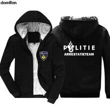 オランダpolitie警察特殊swatユニット力メンズパーカーノベルティ綿のコートのファッション冬保温ジャケットスウェットシャツ