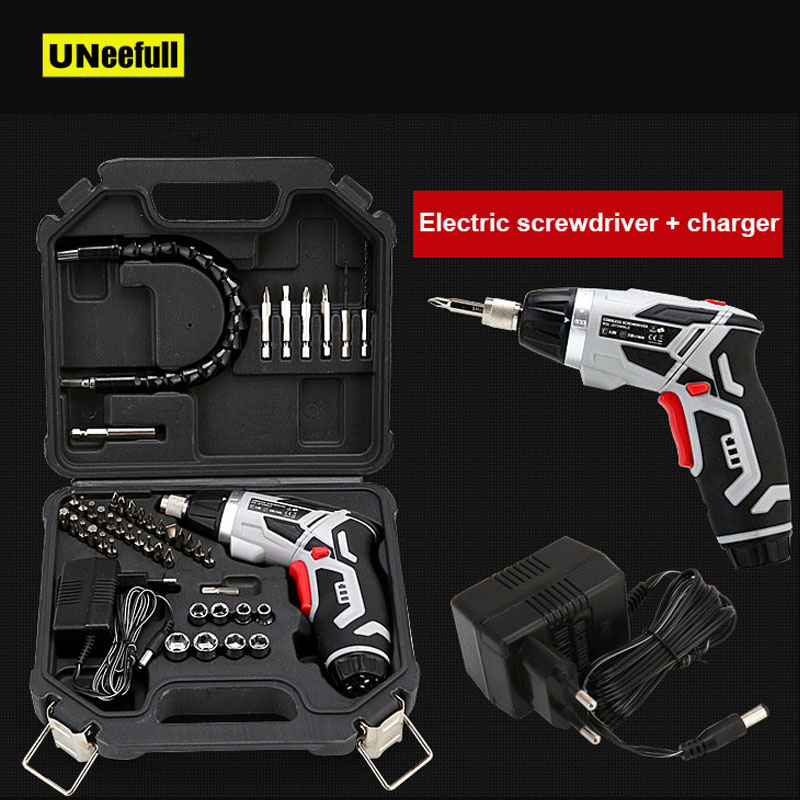 4.0V Electric Screwdriver Cordless Drill With 46 Bits Mini Wireless Power With LED Light Dremel Multi-function House Power Tools