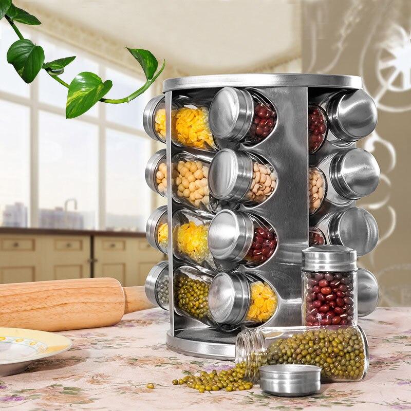 Support à épices de comptoir tournant en acier inoxydable Organization de stockage d'assaisonnement tour de carrousel à épices pour cuisine ensemble de 16/13 pot