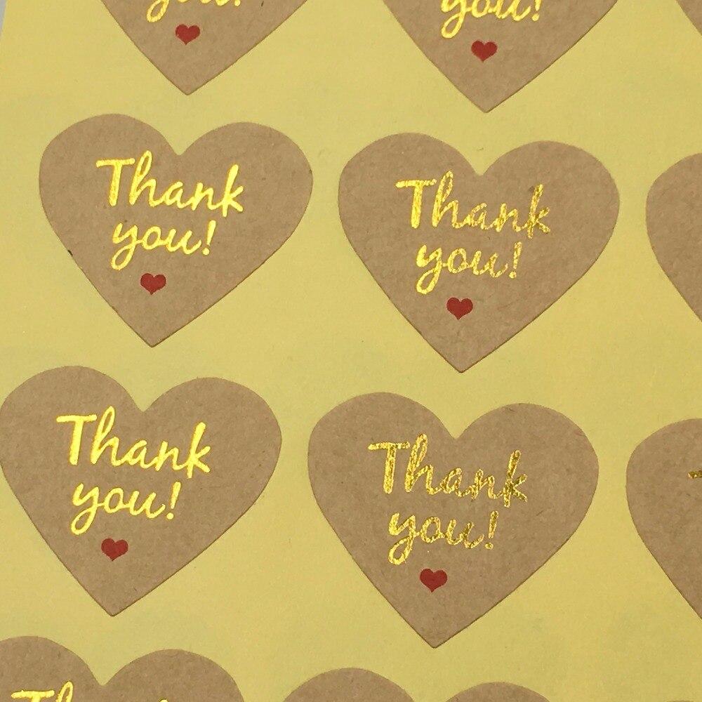 84885169b56a Shap del corazón del amor etiqueta engomada de Kraft etiquetas de sellado  de oro Adhesivos regalo de boda etiquetas gracias etiquetas autoadhesivas  ...