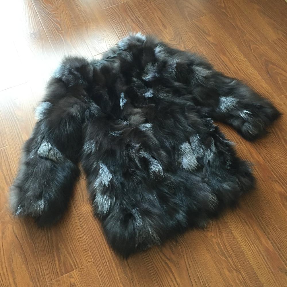 New Arrival Fashion Brand Top Furrier Real Fox Fur Long Coat 100% Natural Fox Fur Coat KFP739