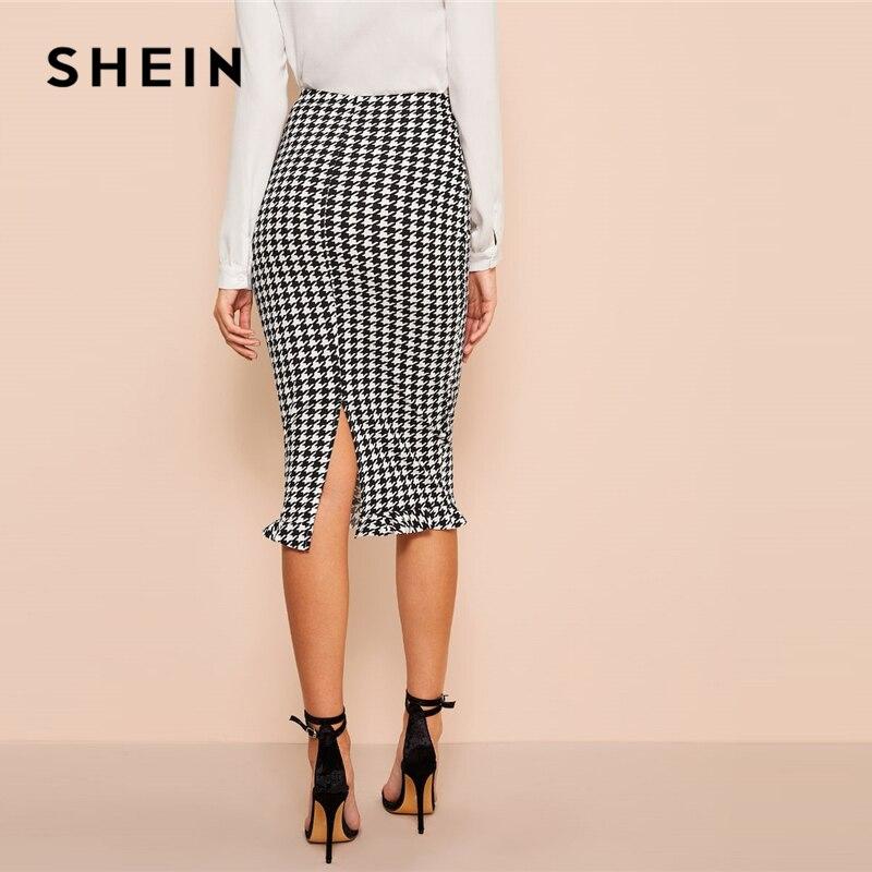 SHEIN Black And White Ruffle Hem Bodycon Houndstooth Sheath Skirt Womens Spring Elegant Casual High Waist Straight Long Skirt 2