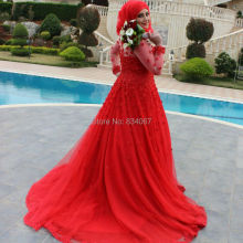 Red Muslim Hijab Wedding Dress 2017 vestidos de noiva Sheer Long Sleeves Beads Flowers A line
