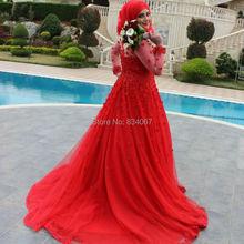 Red Muslim Hijab Wedding Dress 2017 vestidos de noiva Sheer Long Sleeves Beads Flowers A line Court Train Bride Wedding Gowns