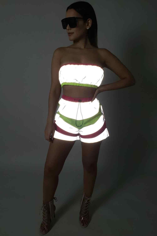 Женский комплект из двух предметов, флуоресцентная туника, короткий топ и брюки