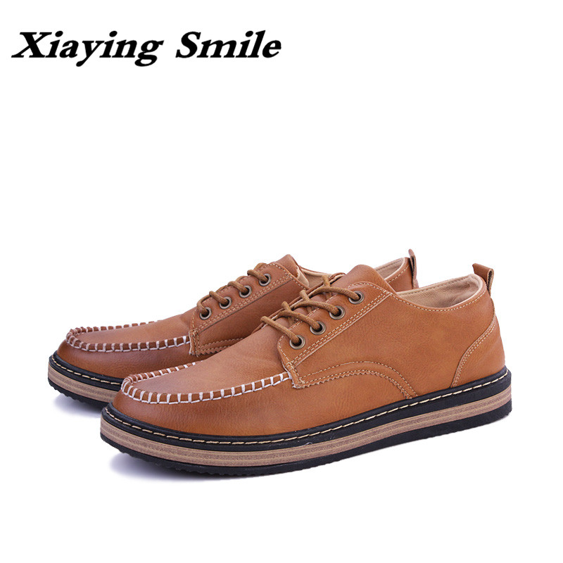 2019 Men s Fashion Leather Work Shoes Lace Up Casual Shoes Genuine Leather Male Student Skate