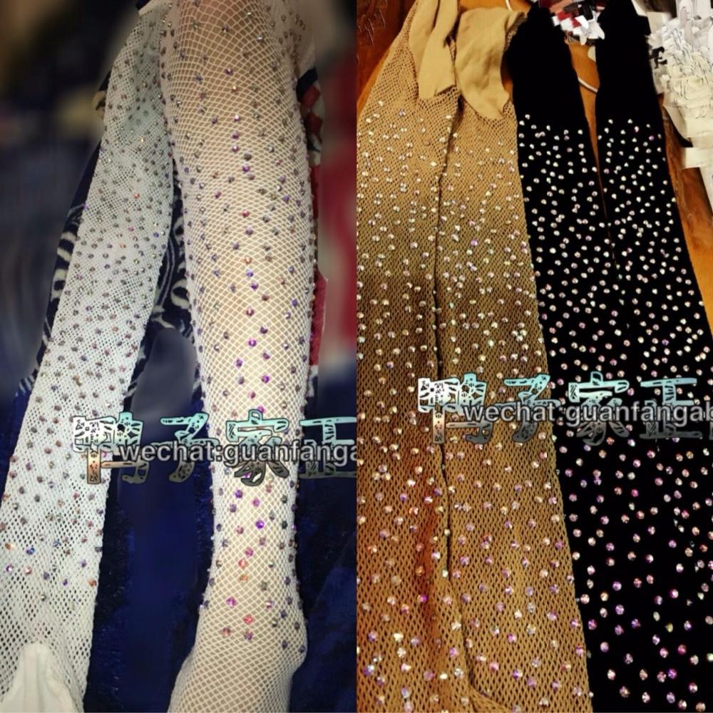 Latin Dance Fishnets Professional Accessories Socks Caramel Costume Full Rhinestones Tights