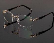 444163e3c2 DOWER ME Brand Design Fashion Men Rimless Alloy Business Gold Silver  Optical Myopia Presbyopia Eyewear Eyeglasses ZM58050