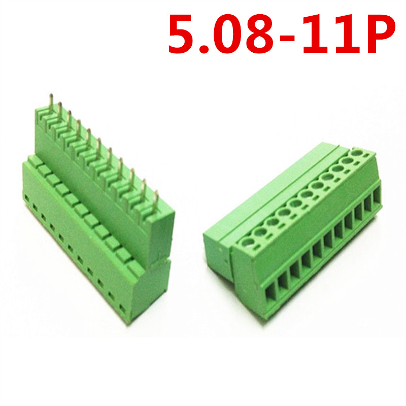 10sets 11 Pin PCB Electrical 5.08mm Pitch Plug-in Type Straight pin Green connectors screw terminal block Pin header and socket