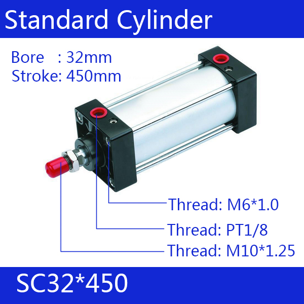 SC32*450 Free shipping Standard air cylinders valve 32mm bore 450mm stroke SC32-450 single rod double acting pneumatic cylinder