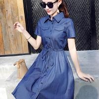 2018 New Women Denim Dresses Summer Casual Long Sleeve Long Jeans Dress