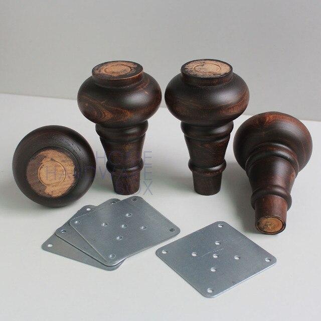 4 Unid madera maciza antigua convertido sofá otomano muebles pies ...