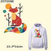 ZOTOONE Fun Colorful Fox Iron on Patches A-level Washable Stickers Easy Print By Household Irons T-shirt Dresses DIY Accessory B(China)