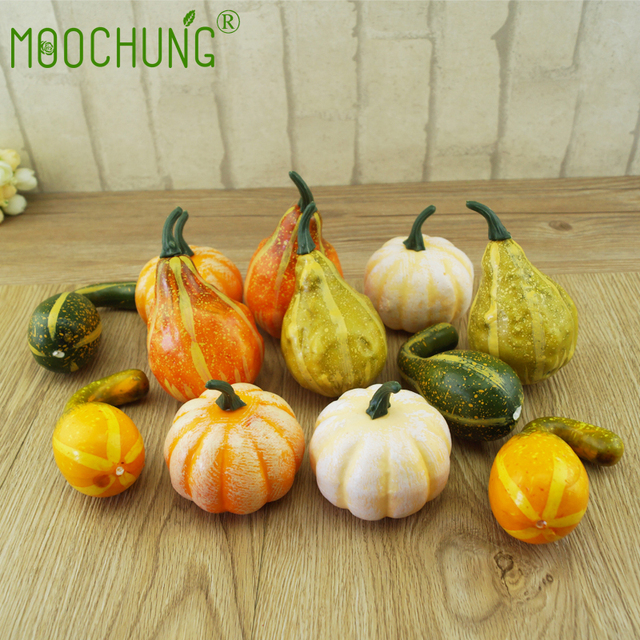 autumn fall decorations artificial pumpkins fake gourds for home