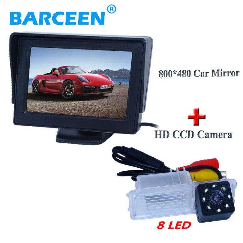 Caméra arrière de voiture automatique vision nocturne hd ccd + 8 led avec écran lcd 4.3
