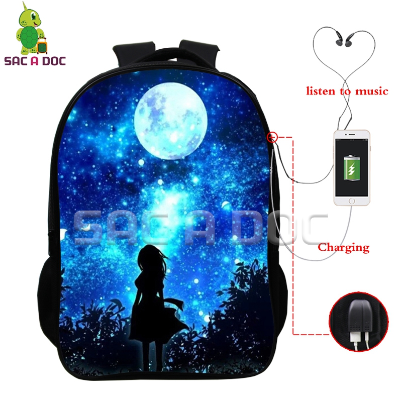 0fce216f8afd Galaxy Universe Multifunction Backpack for Teenagers Girls Boys USB  Charging Headphone Jack School Bags Starry Sky