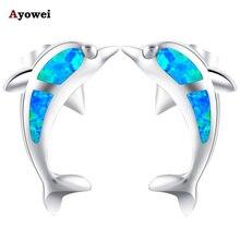 Ayowei дизайн с животным дельфином 925 Серебряные модные ювелирные изделия Синий огненный опал Черная пятница серьги-гвоздики для девочек OE606A
