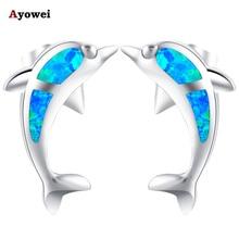 Ayowei Animal Dolphin Design 925 Silver Fashion Jewelry Blue Fire Opal Black Friday Stud Earrings for Girls OE606A