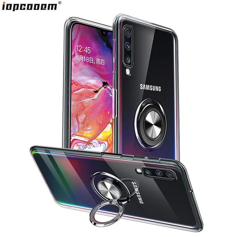 For Samsung Galaxy A10 A20 A30 A40 A50 A70 Case Transparent TPU With Finger Ring Magnetism Holder Phone Back Cover Coque
