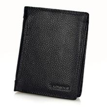 LACHIOUR RFID Blocking Men Genuine Leather  Wallets Clutch Male Purse Short Wallet Money Clip Purses Leather Purse Wallets