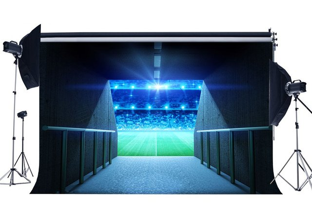 Campo de futebol de Abordagem do Portão Da Escola Jogo Backdrops Bokeh Backdrop Estádio Luzes Do Palco Fundo Verde